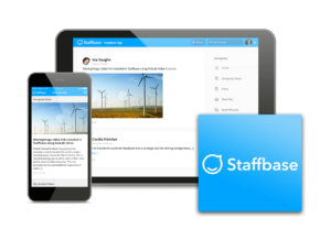 Staffbase plugin logo and integration shown on mobile and on tablet