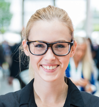 Young professional wearing glasses